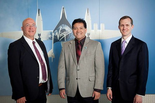 From left to right, New Mexico Spaceport Authority Board Chairman Rick Holdridge, Las Cruces Mayor Ken Miyagashima and Virgin Galactic CEO George Whitesides at the Virgin Galactic Las Cruces office opening. Photo by Jesse Ramirez | by Virgin Galactic