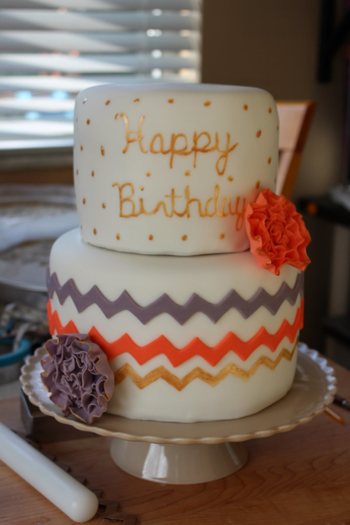 Chevron, grey, coral and gold Birthday Cake
