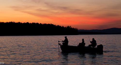 sunset silhouette fishing newhampshire alton lakewinnipesaukee 6d
