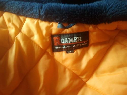 Label of Roamer nylon snorkel parka. Size XL.
