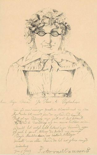 Anonieme prent (litho) naar een anoniem portret van Petronella Moens uit ca. 1825, met daaronder een gedicht van de blinde dichteres voor de heer A. Uytenhove, getekend 1 juni 1791. Coll. Het Utrechts Archief.