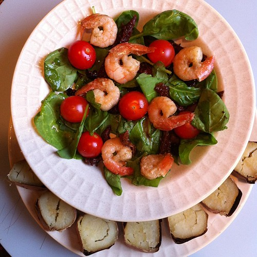 Baby spinach and shrimp salad. Sweet potato dinner 10.6.12 | by ~W~