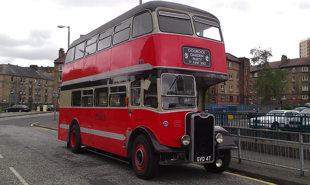 GVD 47  Guy Arab Mklll  Currently operated by McGills of Greenock although running in original colours of McGills of Barrhead.