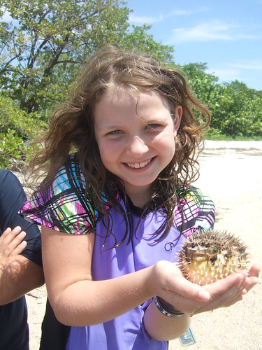 Jillian with a long-spined burrfish