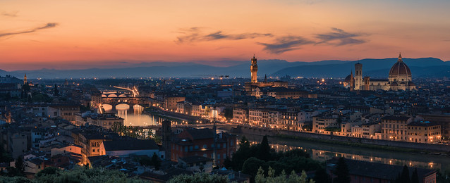 Florence - Skyline Panorama after Sunset