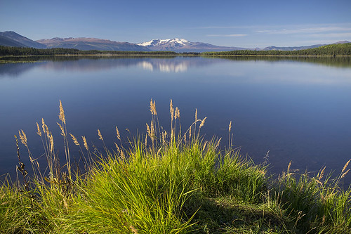 View of Morchuea Lake, with Mt. Edziza in the background, Northern British Columbia
