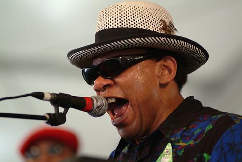 Henry Butler  at Jazz Fest 2003.  Photo Leon Morris.