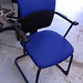 Blue black steel case chair