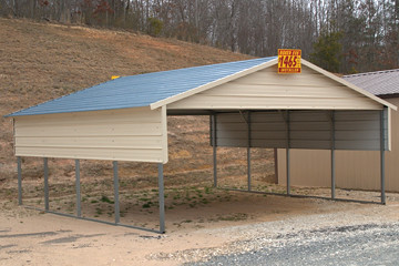 18x20 Carport with Additional Half-Sidewalls | Boxed eave ca