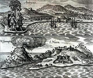 Het fort Ambon in 1655, vestiging van de VOC.