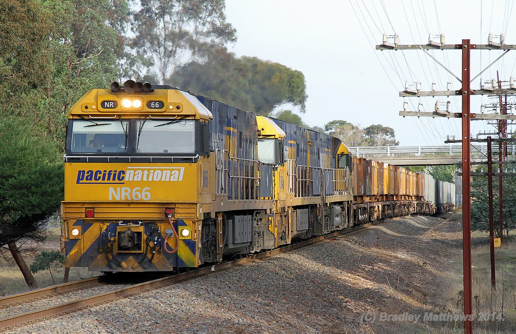 NR66-NR64-NR24 with 4WP2 steel goods to Perth at Ararat (17/4/2014) by Bradley Matthews