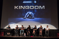 Moderator Robyn Ross, Byron Balasco, Frank Grillo, Natalie Martinez, Joanna Going, Kiele Sanchez and Matt Lauria