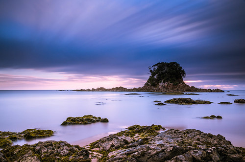 longexposure blue sea newzealand sky bw seascape water clouds sunrise island dawn bay coast nikon rocks filter northisland bluehour coromandel hahei tairua nd110 sailorsgrave