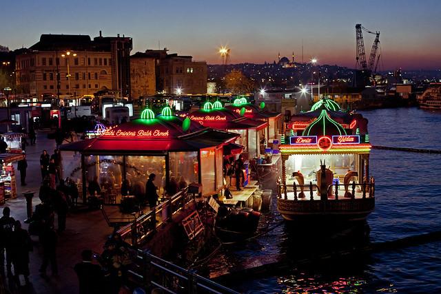 Floating Fish Sandwich Boat    Eminonu Balik Ekmek   Istanbul Turkey