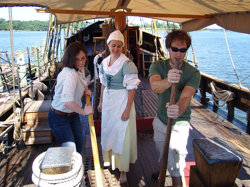 Visitors aboard the Maryland Dove, Historic St. Mary's City
