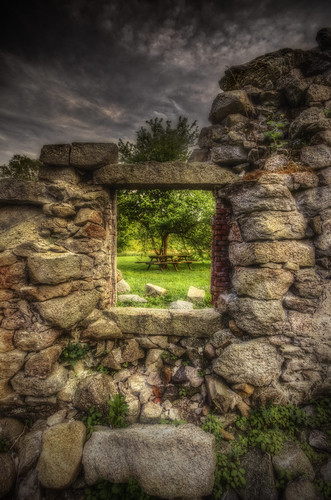 building tree mill window clouds river table ma ruins picnic factory pentax stones dam decay framed massachusetts newengland historic textile cotton frame trust land whites fairhaven hdr preservation k5 photomatix acushnet tonemapped pentaxart