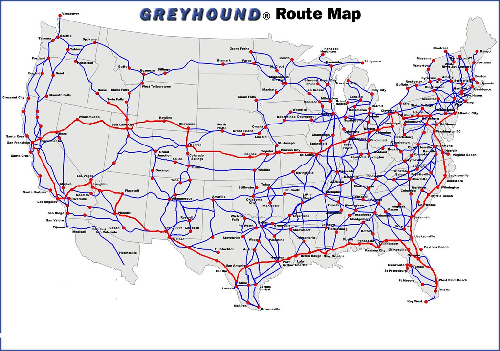 Greyhound Bus Routes Map Greyhound bus route map. | John Coyle | Flickr