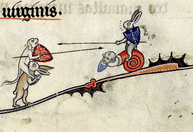 Hybrid snail ridden by Hare jousting a dog riding a Hare  … | Flickr