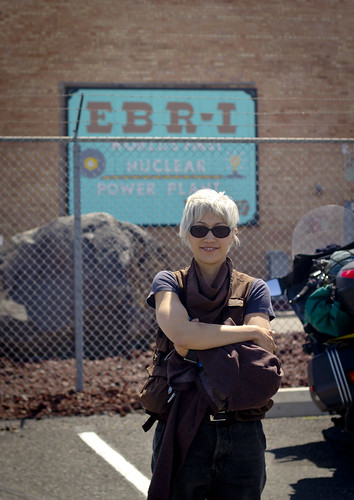 EBR-1: Melissa in front of the entrance to the first nuclear power generator   by mormolyke