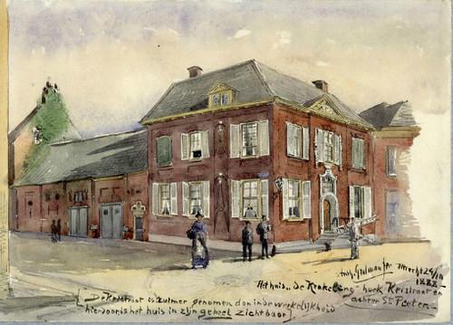 Gezicht op de zij- en de voorgevel van het huis De Krakeling te Utrecht met links het koetshuis aan de Keistraat, uit het zuidwesten. A.E. Grolman 1888. Coll. Het Utrechts Archief.