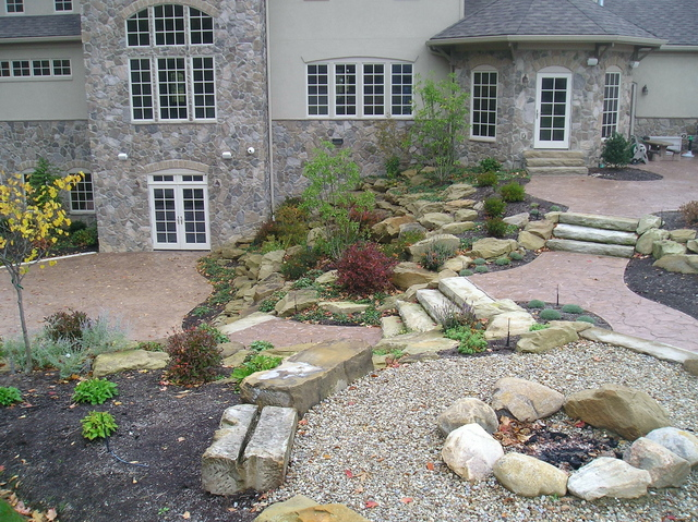 Multi Level Stone Patio And Landscape Green Impressions Flickr