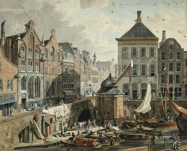 Gezicht op de Oudegracht te Utrecht bij de Stadhuisbrug uit het westen, met in het midden de stadskraan, links de voorgevels van de huizen aan de oostzijde van de gracht en de Ganzenmarkt en rechts de voorgevels van de huizen Keijserrijk en De Ster. Pen in zwartpenseel in kleur (waterverf). Datering tussen 1780 en 1820. Coll. Het Utrechts Archief.