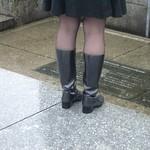 gray heeled rain boots