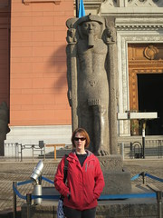 Kristina and a statue outside the museum of antiquities.
