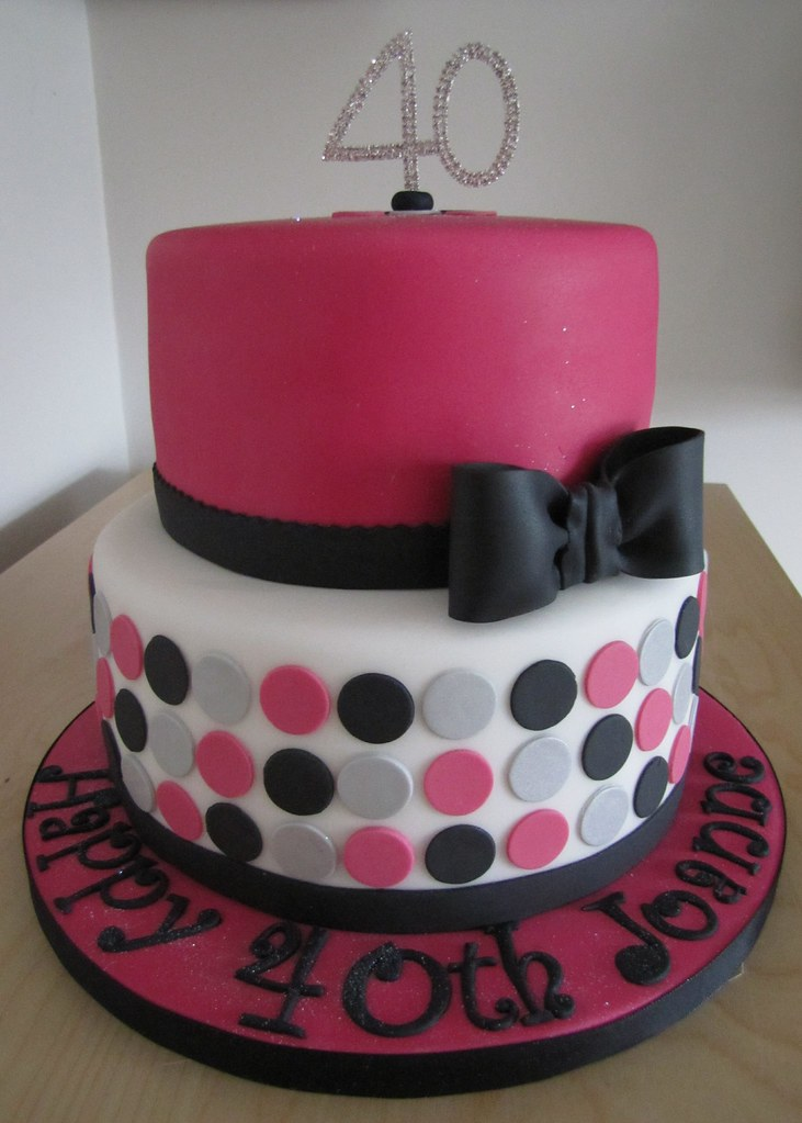 Fine Pink Black Silver And White 40Th Birthday Cake Chizar183 Flickr Funny Birthday Cards Online Alyptdamsfinfo