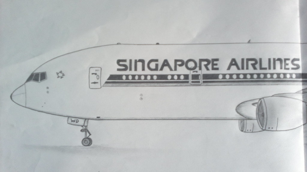Drawing Of Singapore Airlines Boeing 773er My Best Drawing Flickr