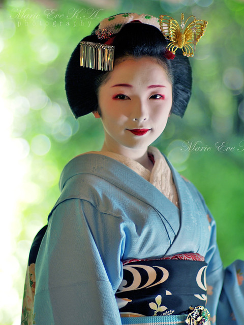 Maiko 'Toshimana' in breeze of green..