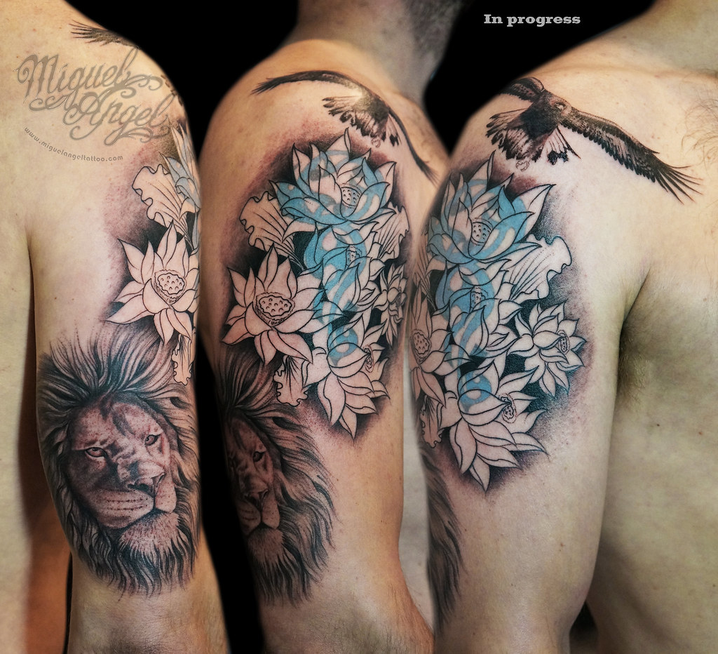Lion Lotus Flowers And English Golden Eagle Cover Up Tatt Flickr
