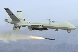 US predator drone unleashing the hellfire missile. This weapon deployed by the Central Intelligence Agency (CIA) and the Pentagon has killed thousands. The Obama administration has increased its usage in Africa, the Middle East and Central Asia. | by Pan-African News Wire File Photos