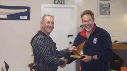 Don Harland receiving Closing Regatta trophy for 1st place | by PLSC (Panmure Lagoon Sailing Club)