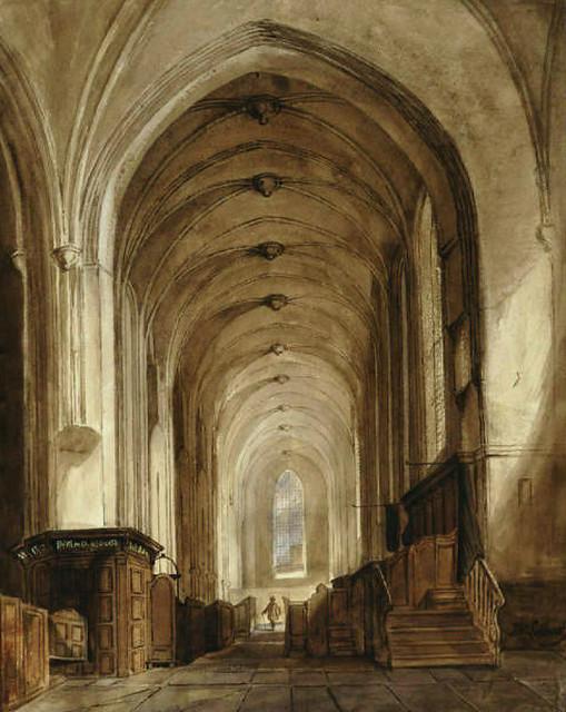 Jacobikerk interieur 1856. Coll. Het Utrechts Archief.