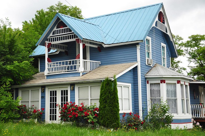 Blue with white trim
