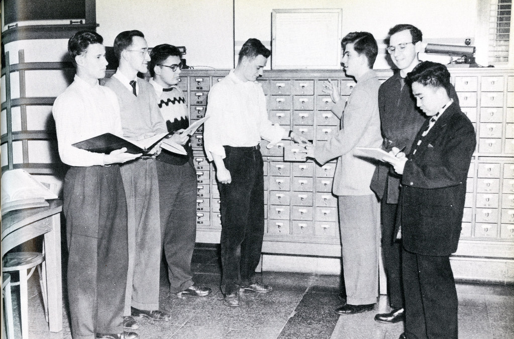 Students Using Library Card Catalog, 1953