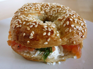 Lox and schmear on a homemade bagel | by WordRidden