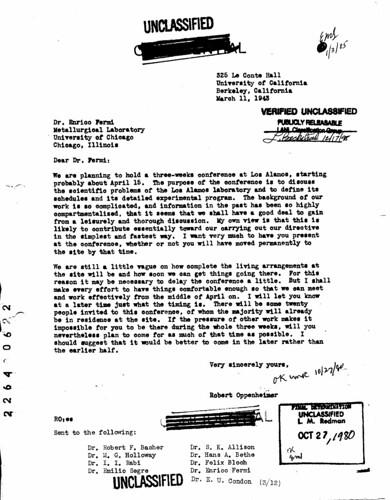 Enrico Fermis invitation to the Primer conference March 11 1943