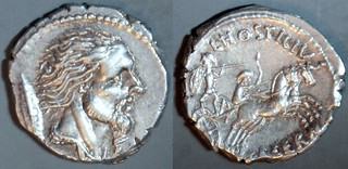 448/2a L.HOSTILIVS SASERNA Hostilia Denarius. Vercingetorix, Gallic shield, Two warriors in biga. Rome 48BC. | by Ahala