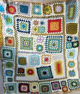 Granny Square sampler afghan completed