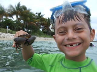 Alex catches a stone crab.
