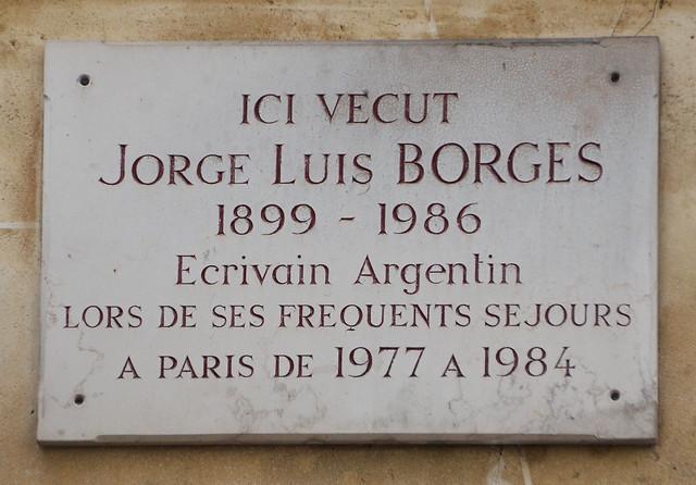 Jorge Luis Borges plaque - rue des Beaux Arts, Paris 6