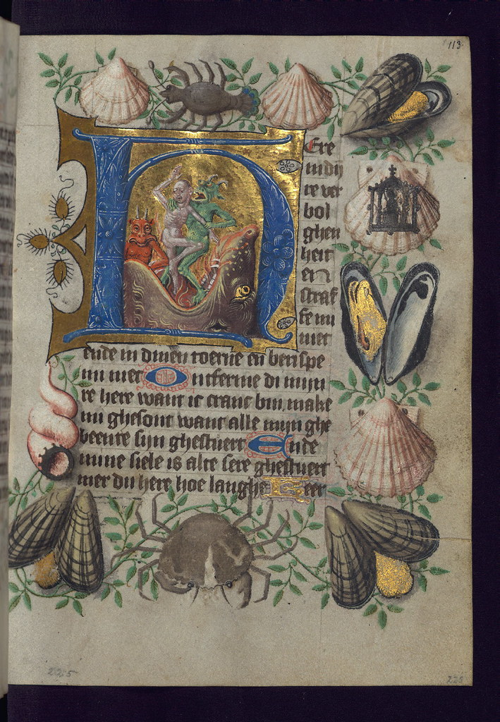 Illuminated Manuscript, Van Alphen Hours, Initial H with Souls cast into Hellmouth, Walters Manuscript W.782, fol. 113r