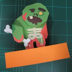 วิธีทำโมเดลกระดาษตุ้กตา คุกกี้ รัน คุกกี้รสซอมบี้ (LINE Cookie Run Zombie Cookie Papercraft Model) 029