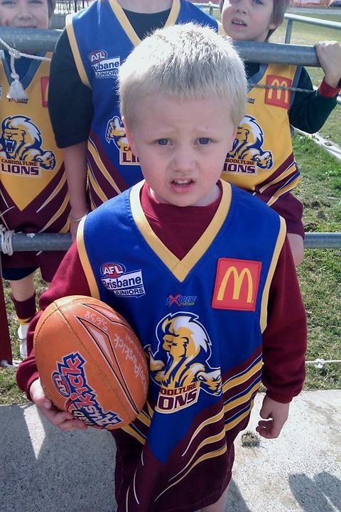 hayden in a lions football dress up