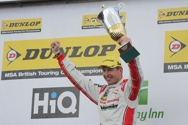 Matt Neal with his trophy after coming second at the BTCC race at Donington Park in April 2012