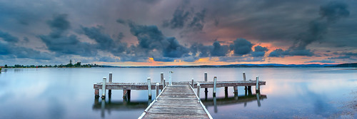 old sunset lake reflection water clouds pier belmont pano jetty australia panoramic nsw newsouthwales d700 brucehood squidsinkjetty