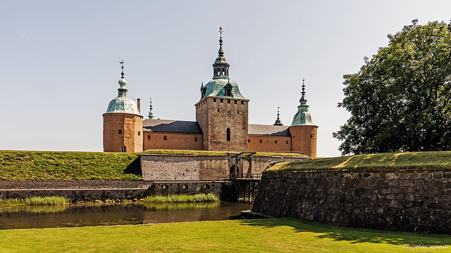 Front view of Kalmar Castle with the moat and bascule bridge.