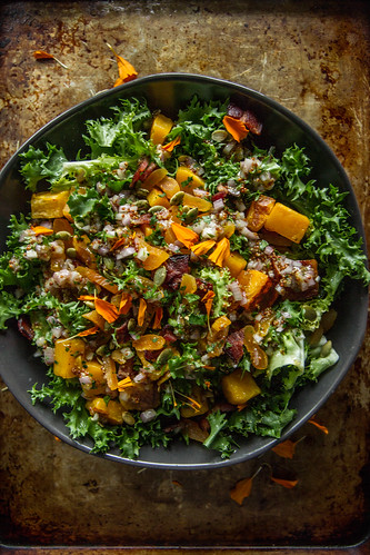 Escarole butternut squash, bacon and dried Apricot Salad | by Heather Christo
